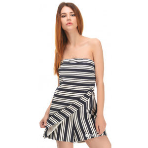 NWT Zara M Striped Strapless Romper Skort